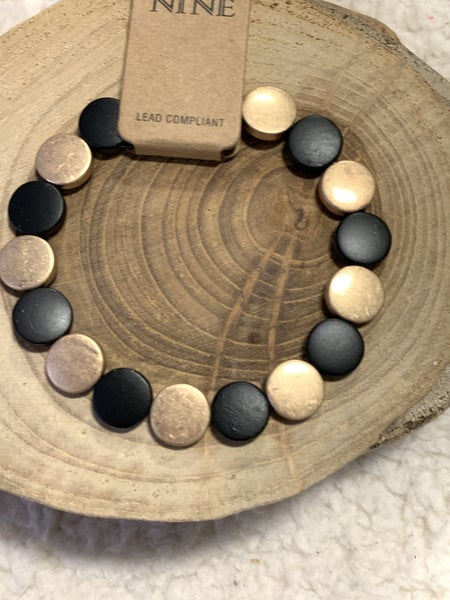 We Are Young Black And Gold Metal Disc Stretch Bracelet
