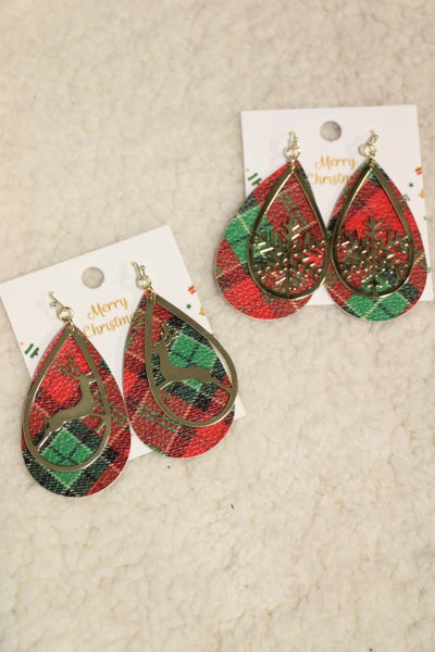 Mad For Plaid Double Layer Leather Plaid And Cutout Metal Teardrop Earring In Multiple Designs