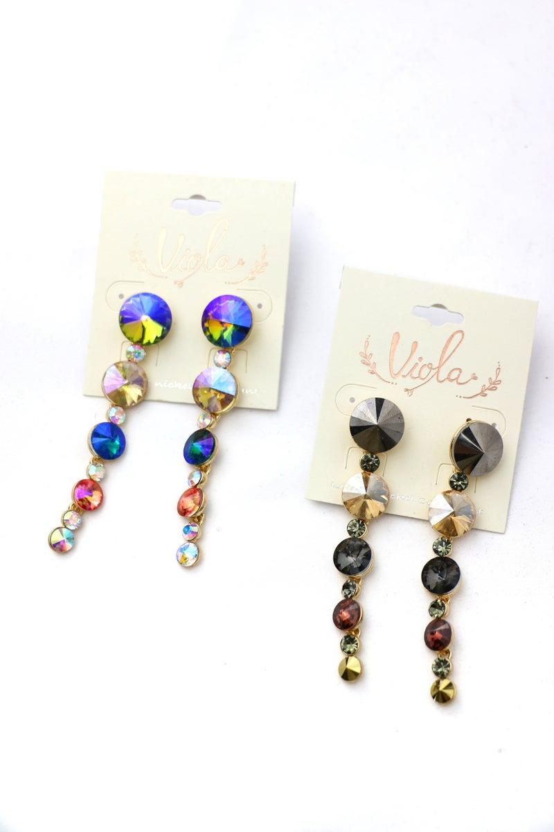 Fancy That Tiered Stone Drop Earrings In Multiple Colors