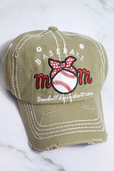 Baseball Mom - Baseball Hair Don't Care - Polka Dot Bandana Baseball Cap in Multiple Colors