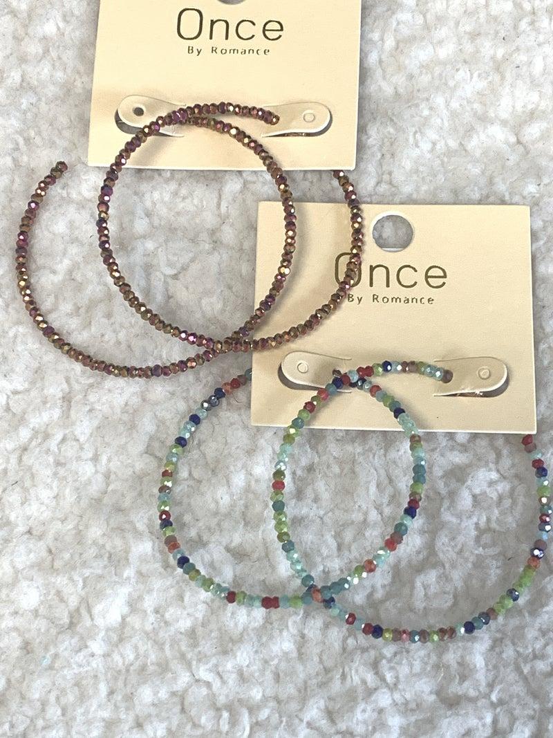Shine On Crystal Bead Hoop Earring in Multiple Colors