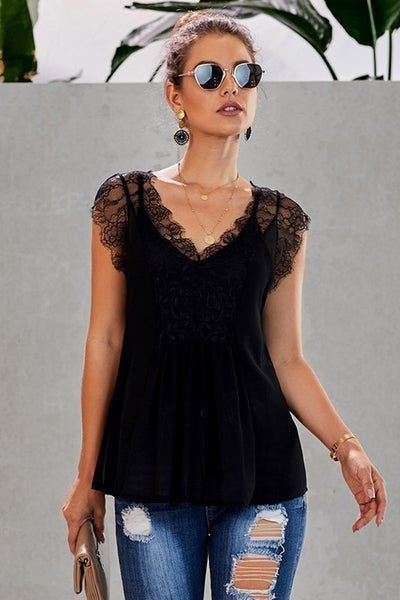 From a Dream Lightweight Shirt with Lace Accents and Matching Cami in Multiple Colors - Sizes 4-20