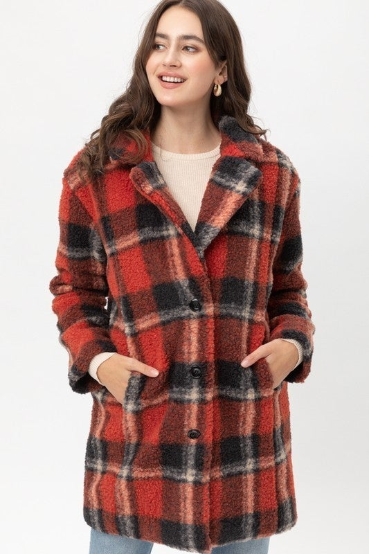 Sweep Me Up Plaid Sherpa Coat in Multiple Colors - Sizes 4-12