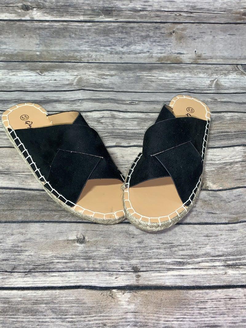 Black Criss Cross Sandal In Black - FINAL SALE