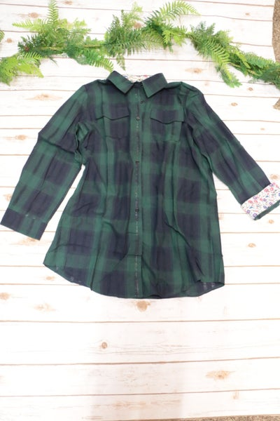 Wings Like Eagles Flannel With Floral Inside Hem In Green - Sizes 4-18