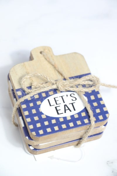 Let's Eat Set Of 4 Navy And White Coasters