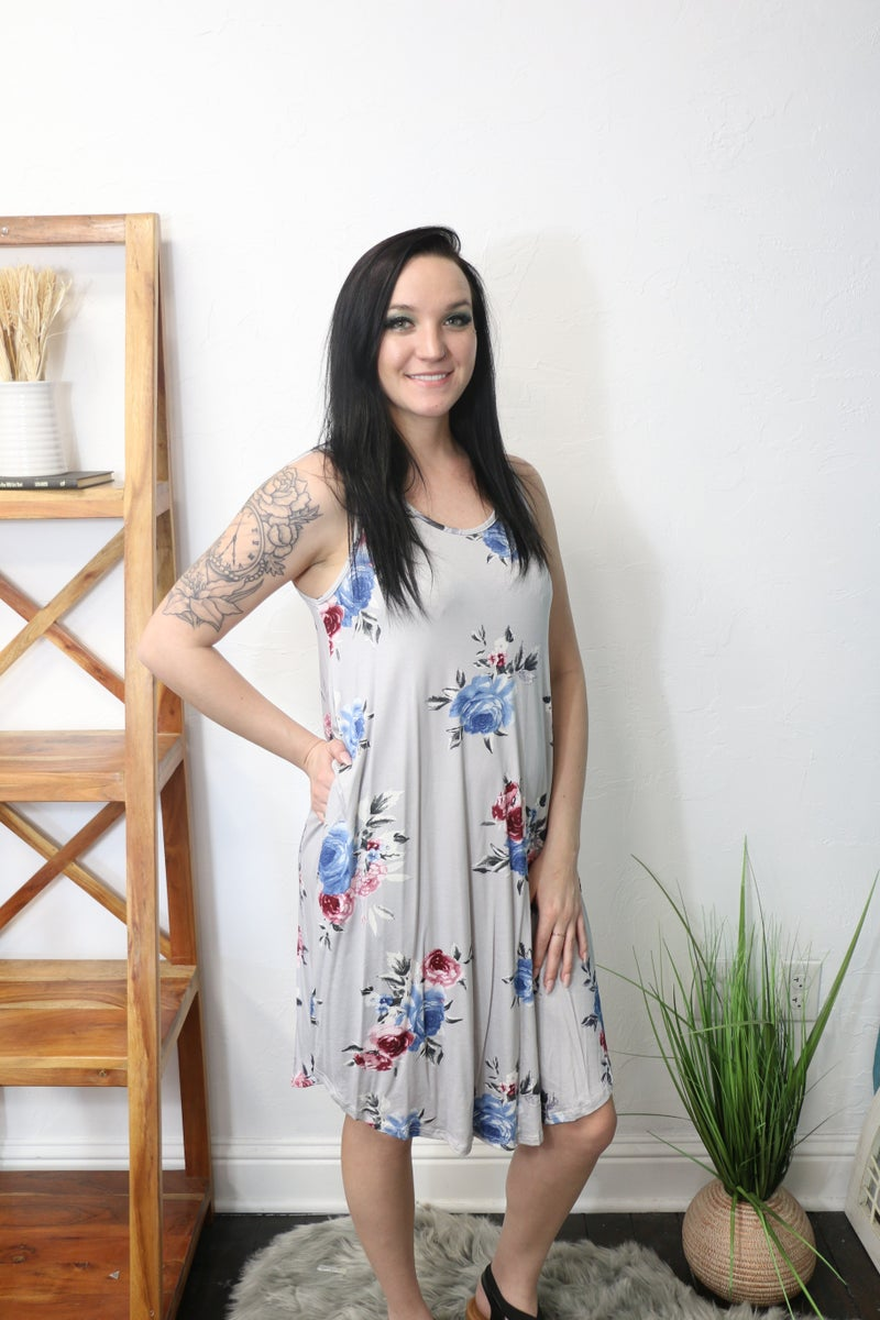 From the Top Gray Floral Sleeveless Dress - Sizes 4-10