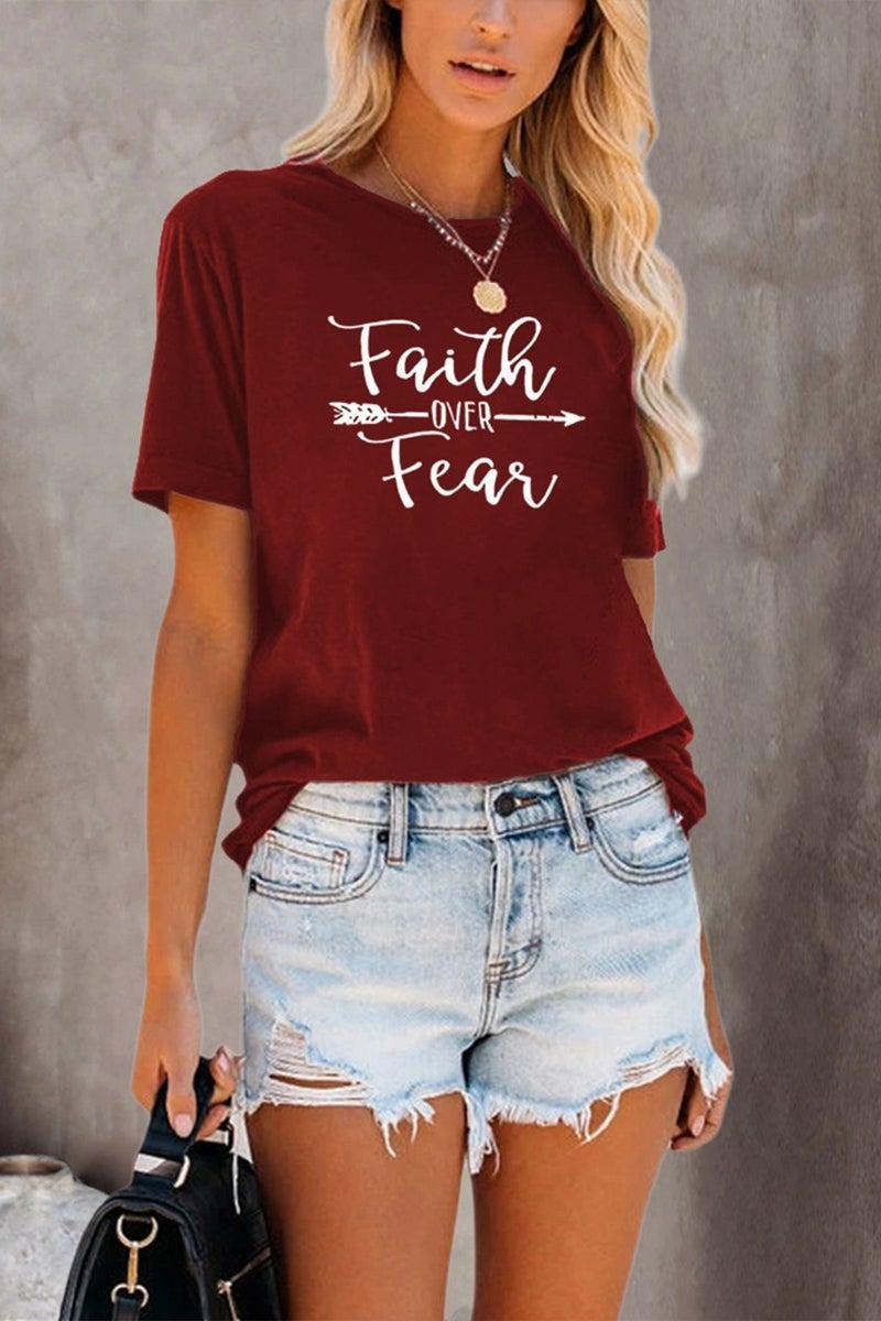 Faith over Fear Wine Graphic Tee - Sizes 4-18