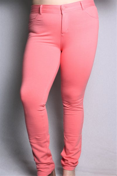 Out of Your League Coral Jegging - Sizes 12-20