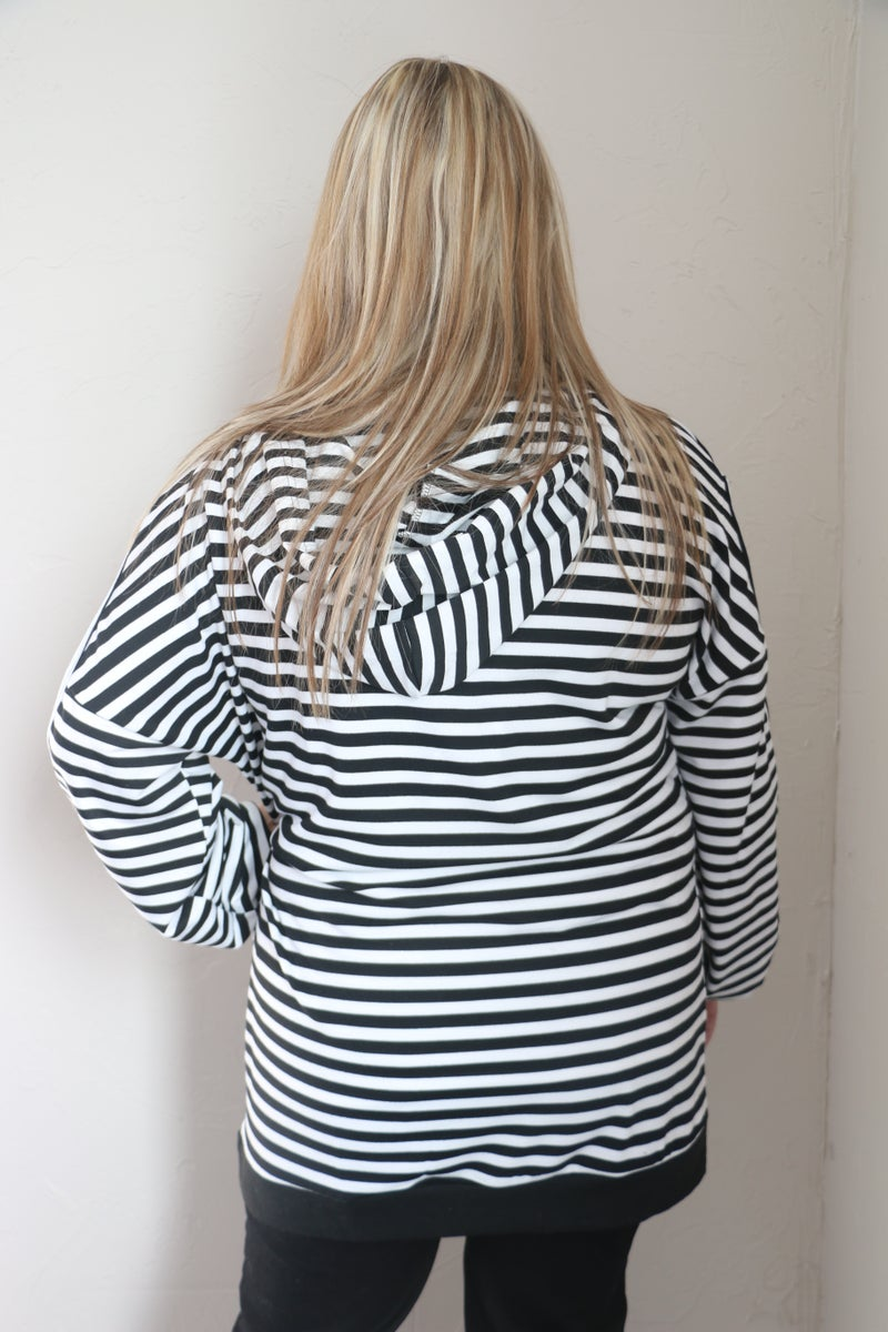 Doesn't Matter Tonight Striped Hoodie with Cold Shoulder  in Multiple Colors - Sizes 4-20