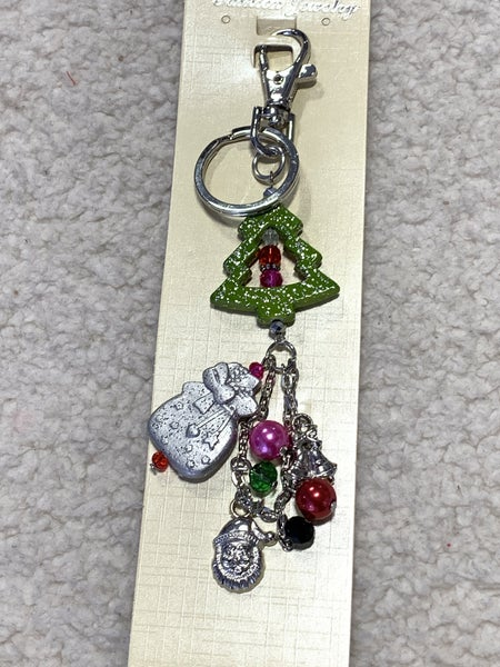 Christmas Wishes Key Chain With Glitter Charms