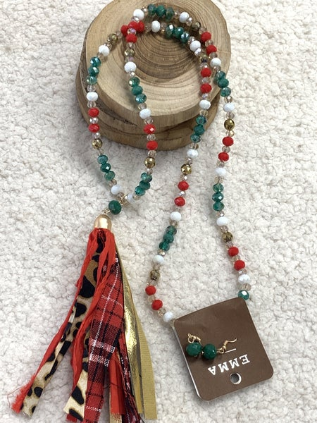 Holiday Time Red Green And Gold Beaded Necklace With Red Plaid Tassel