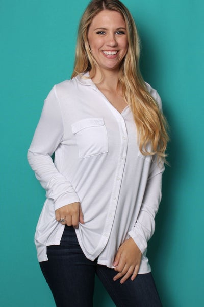 In My Thoughts Long Sleeve Button Down Top in White - Sizes 4-12