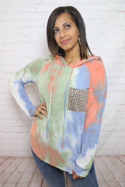 This Is Why Tie Dye Hoodie with Leopard Pocket - Sizes 4-12