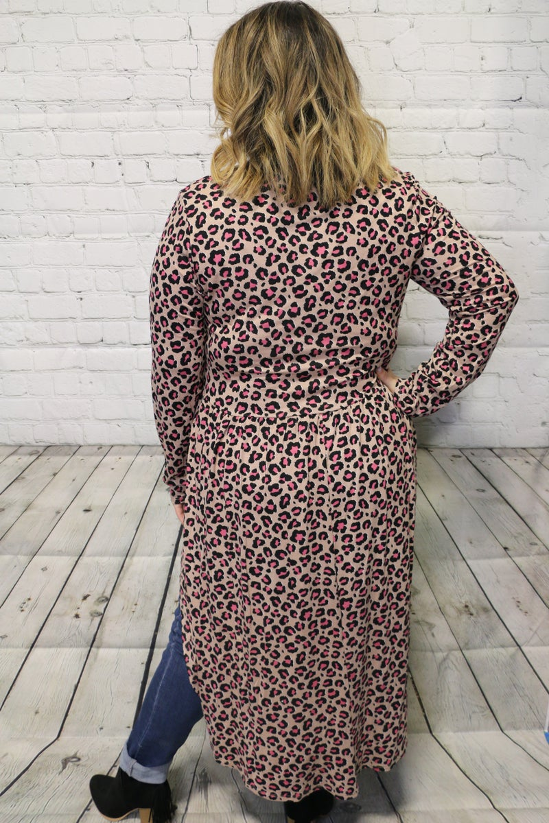 Just One Name Leopard Hi-Lo Top In Taupe - Sizes 12-20