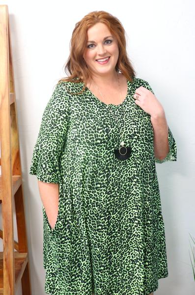 Feline Feisty Leopard Neon Green Bell Sleeve Dress - Sizes 12-20