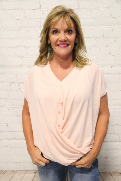Be My Mirror Button Down Surplice Top In Multiple Colors- Sizes 4-20 *Final Sale*