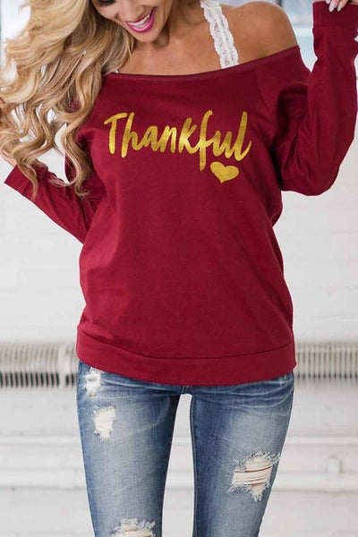 Thankful Red Off the Shoulder Top - Sizes 4-20
