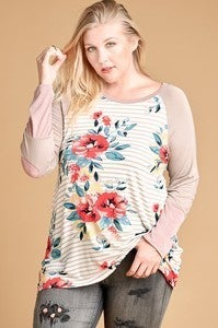 Waiting for the Moment Striped and Floral Top with Colorblock Accent Sleeves - Sizes 12-20
