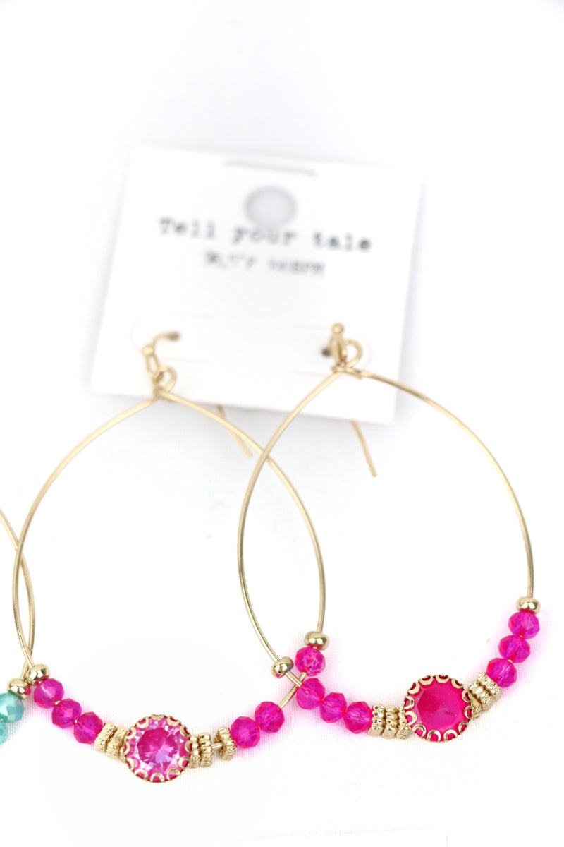 Here And Back Gold Hoop Earring With Large Stone And Crystal Beads In Multiple Colors
