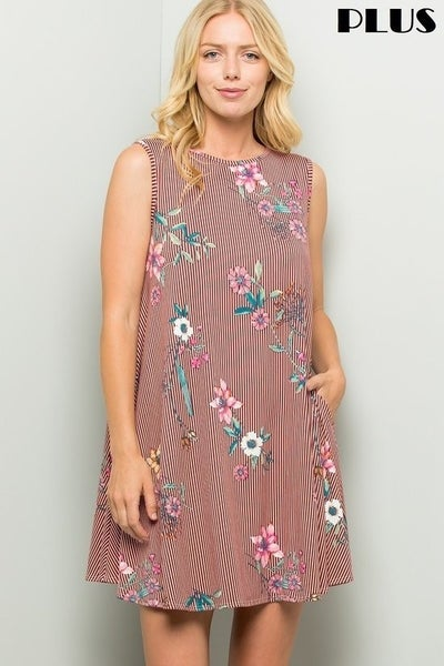 Follow Your Heart Striped Sleeveless Dress with Floral Accents in Multiple Colors - Sizes 12-20