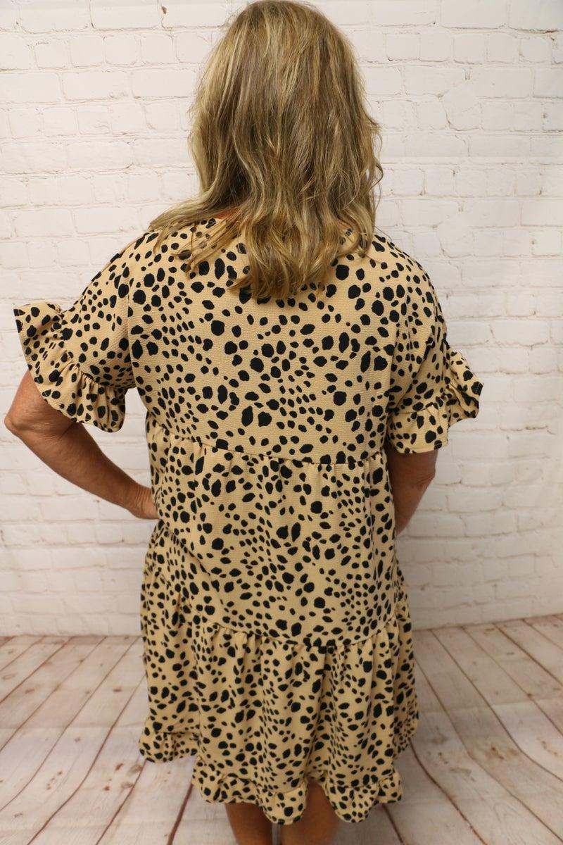Roaring Beauty Short Sleeve Tiered Cheetah Dress - Sizes 4-12