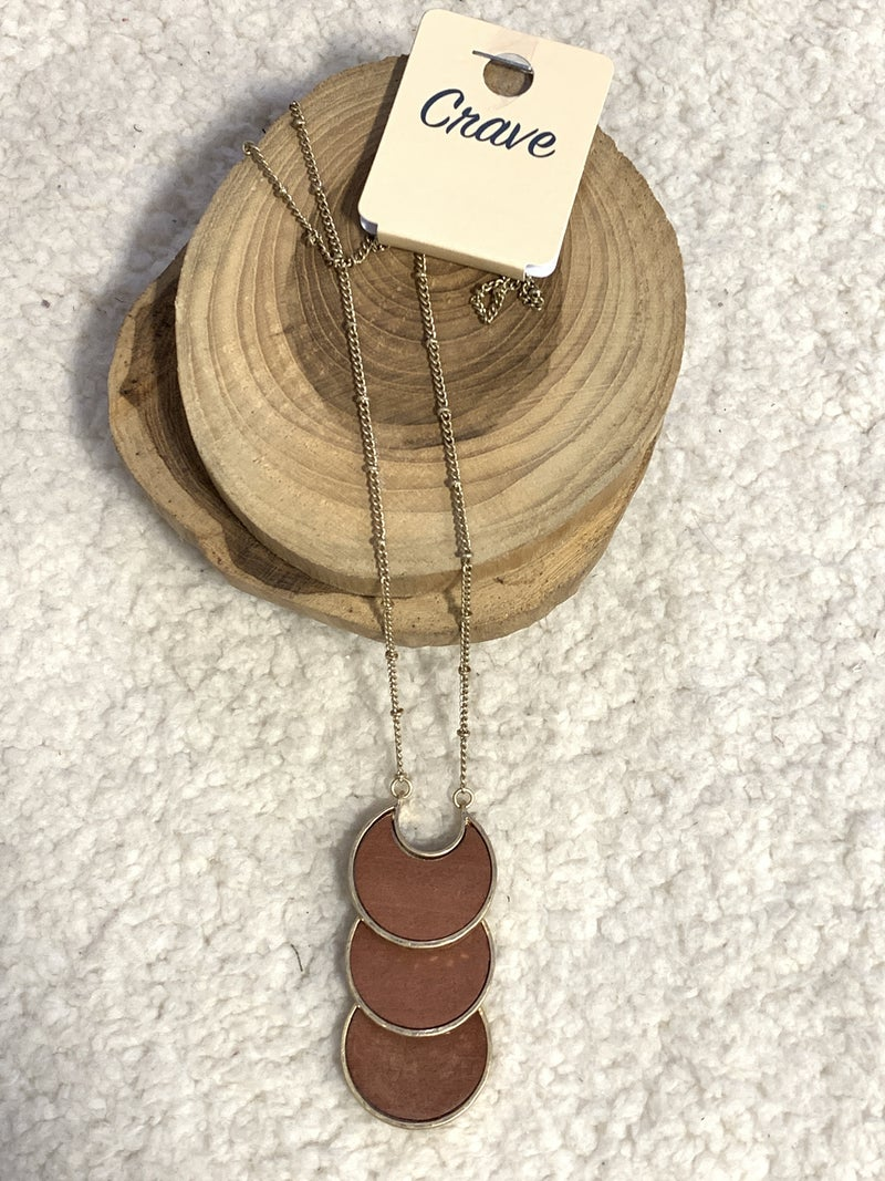 Almost Paradise Brown Wood and Gold 3 Tier Crescent Disc Long Necklace In Gold