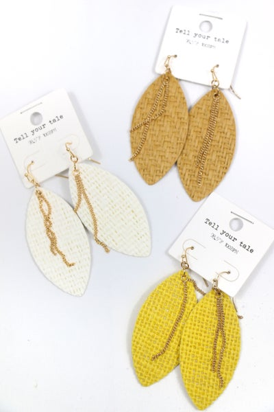 Summer Vibes Woven Leaf Shape Earring In Multiple Colors