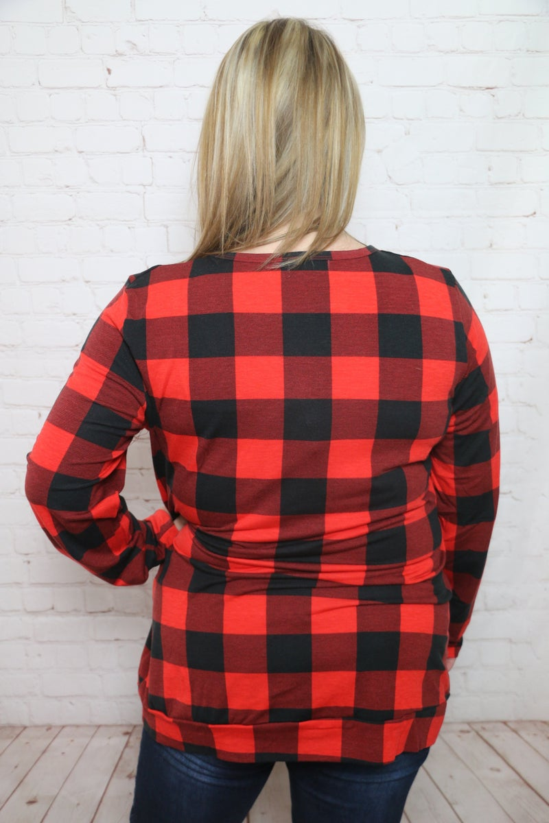 Red Buffalo Plaid Top with Christmas Tree - Sizes 4-20