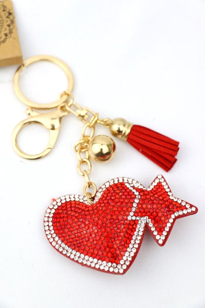 Red Crystal Heart Keychain With Tassel And Bead Charms