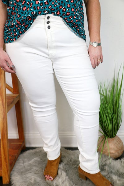 The Ursula KanCan Button Fly White Skinny Jean - Sizes 12-20