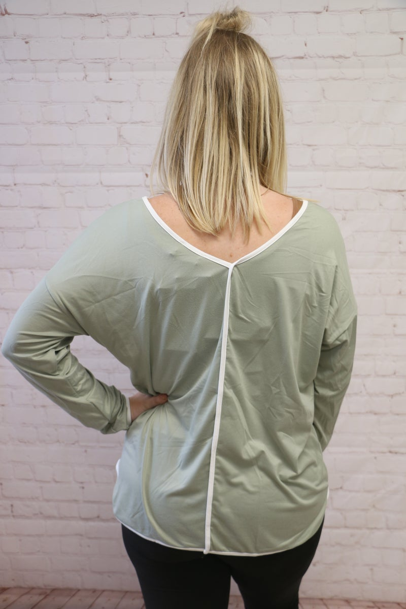 Keeping Secrets Comfy Top with Contrast Trim in Multiple Colors - Sizes 4-20