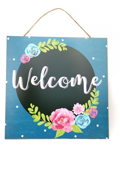 Welcome Square Floral Door Sign With Rope Hanger