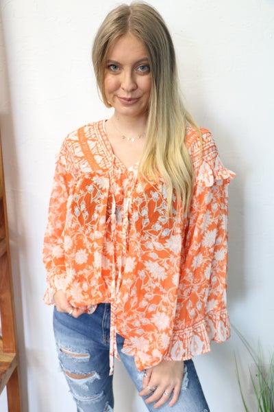 Follow Me Orange Boho Oversized Long Sleeve Sheer Tunic - Sizes 4-10
