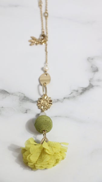 Pretty As Can Be Long Gold Necklace With Yellow Fabric Flower Pendant