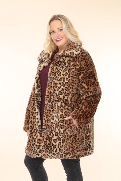Feeling Lovely Leopard Faux Fur Button Down Jacket - One Size Curvy