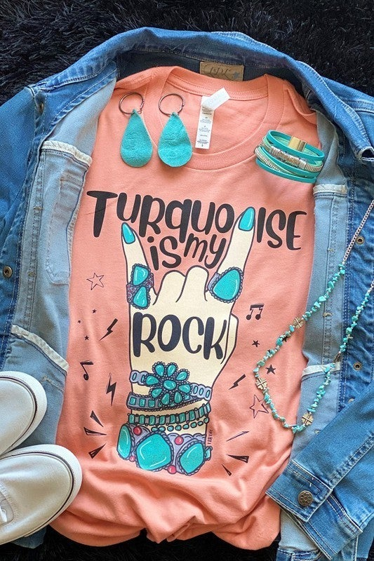 ***PRE-ORDER*** Turquoise Is My Rock Graphic Tee in Cantaloupe- Sizes 4-20