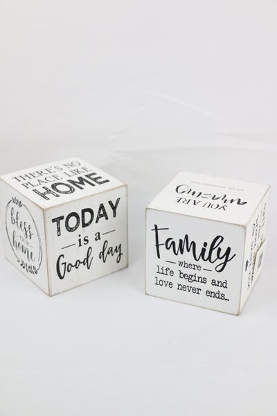 Inspirational Sayings Wooden Cube Sign In Multiple Sayings