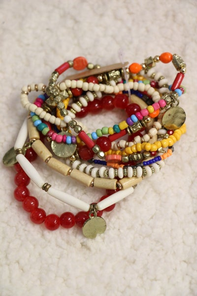 Party Time 10 Strand Multicolor Beaded Bracelet