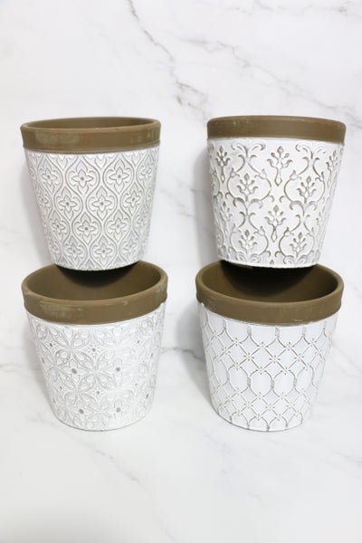 Outdoor Fun Set Of 2 Cement Planters In Multiple Patterns