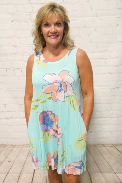 See it in Your Eyes Mint Floral Sleeveless Dress - Sizes 4-12