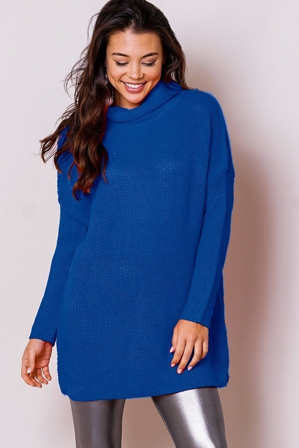 In My Mind Royal Blue Cowl Neck Sweater- Sizes 4-8