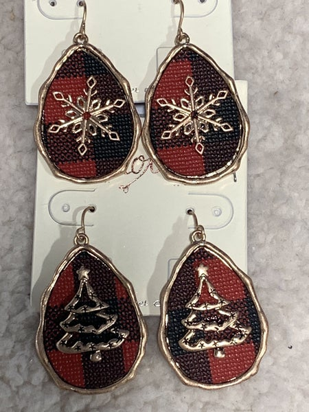 Tinsel Time Red Buffalo Plaid  Earring With Multiple Designs