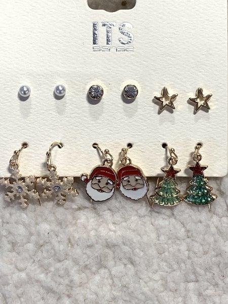 Festive 6 pair of Christmas Theme Earrings