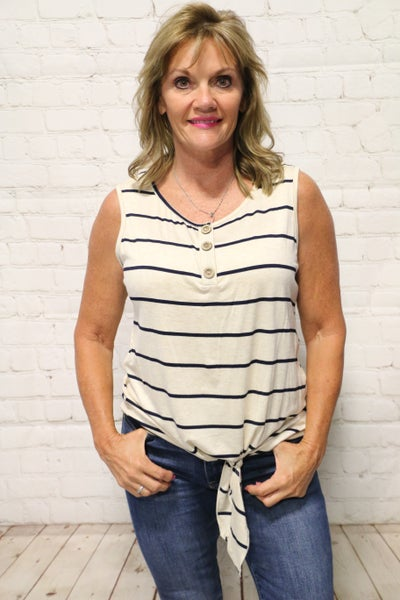 Always Yours Striped Sleeveless Top in Oatmeal - Sizes 4-10
