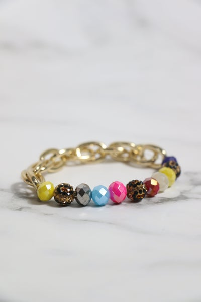 Hungry For More Large Crystal Bead And Gold Link Stretch Bracelet