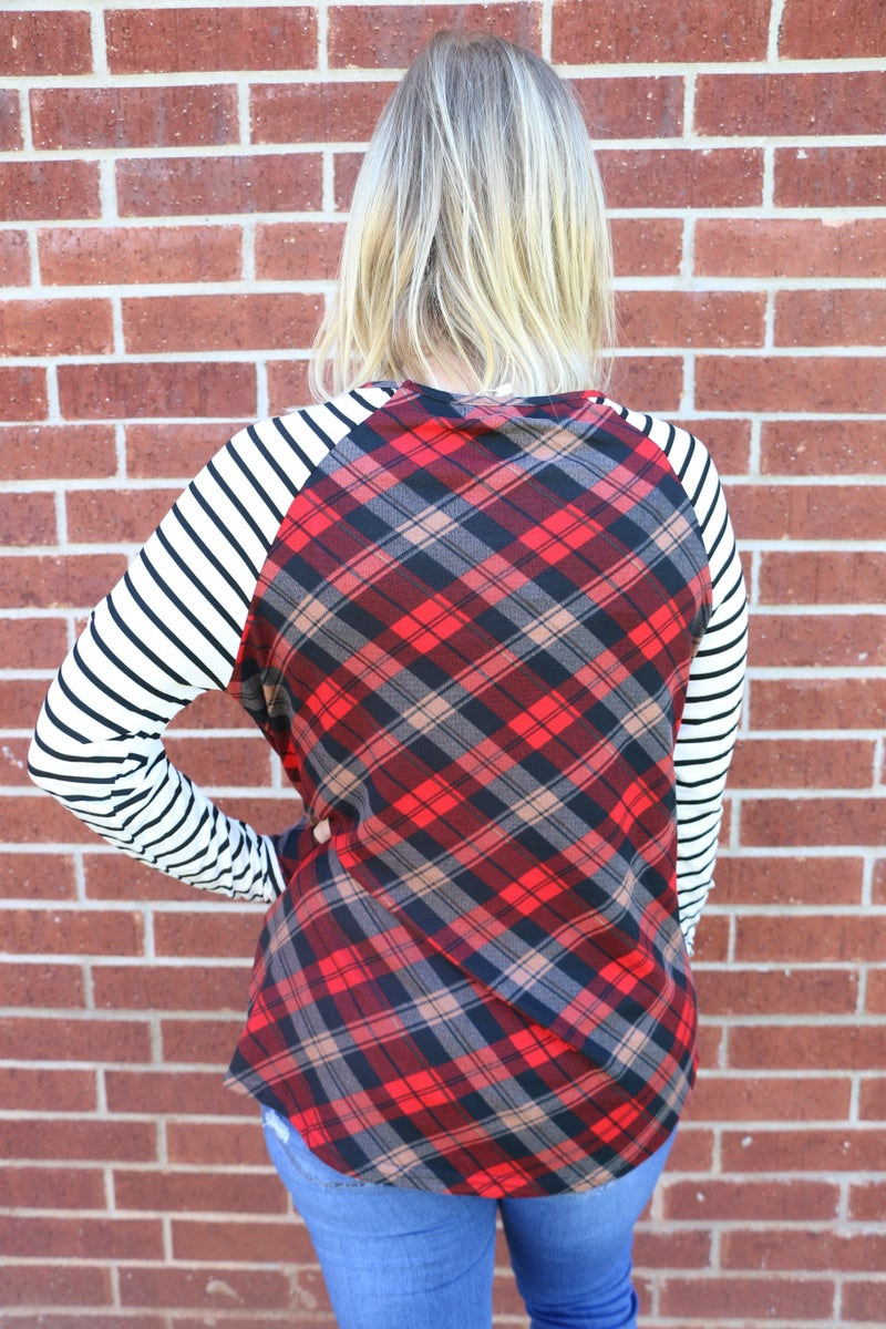 Close To You Plaid Raglan With Stripe Sleeve And Gold Sequin Pocket- Sizes 4-20