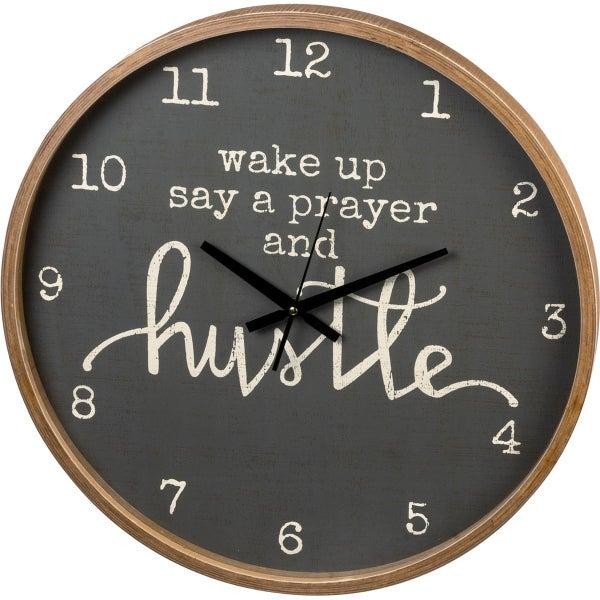 Wake Up Pray And Hustle Wall Clock