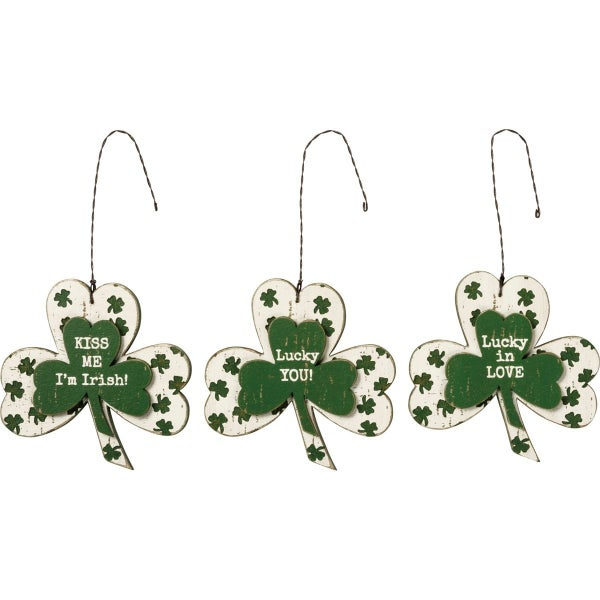 Shamrock Saint Patrick's Day Ornament Three Piece Set