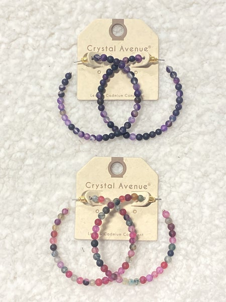 Day To Day Natural Stone Hoop Earring in Multiple Colors